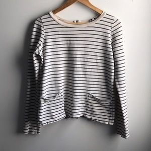 Splendid black white stripe zipper pocket shirt